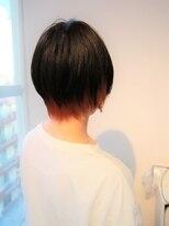 ヘアーライズ 池袋東口店(hair RISE)ショートボブ×インナーカラーピンクオレンジ