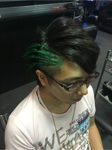 ゾーマ(ZOUMA)サイドコーンロウ 緑 グリーン トリックヘアー