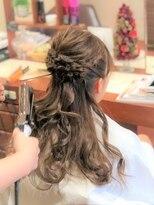 【お客様Style】結婚式ヘアセット裏編みハーフUPデザインカラー