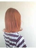 ヘアメイク オブジェ(hair make objet)ハイトーンオレンジボブ