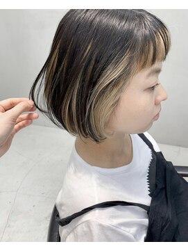 前髪 インナー ブリーチ ボブ ツートンカラー L テトヘアー Teto Hair のヘアカタログ ホットペッパービューティー
