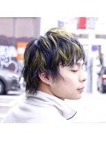 ヘアー アイス ルーチェ(HAIR ICI LUCE)デザインカラー 蛍光グリーンイエロー ウルフ メンズカット