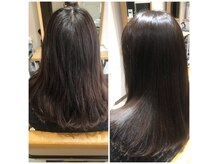 ヘアーアンドビューティー ママコルテ(Hair&Beauty mamacorte)の雰囲気(【ヘアマゼランTR】でサラ艶髪に....施術前(左)施術後(右))