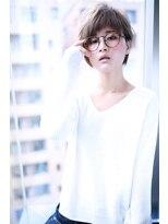 グレージュアシンメトリー小顔ショートバング【Cloud zero】