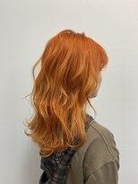 ヘアーアイスカルテット(HAIR ICI QUARTET)オレンジ ダブルカラー ブリーチ デザインカラー