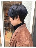 ロッジ 原宿店(RODGE)ネイビー×マッシュショート 岡田 原宿 表参道