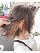 ☆オレンジベージュにインナーカラーオレンジ☆ ブランシェ具志
