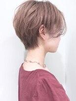 ことりベージュ毛先パーマショート黒髪
