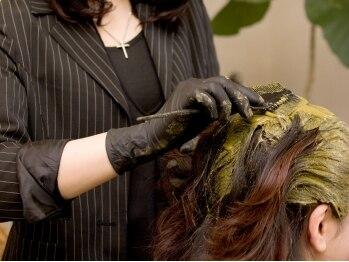 オリーブ(olive)の写真/高品質な天然100%オーガニックヘナでの白髪染めは、頻繁に染めても髪に優しく、健康的なうるつや髪に♪