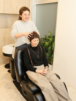 コスモス ヘアーアンドビューティー(Kosmos HAIR&BEAUTY)の写真/Kosmosの心地良い極上リラクゼーションヘッドスパ☆頭皮環境を整え、髪のお悩みに働きかけます◎
