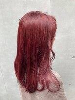 チェリーレッド 暖色系カラー ピンクブラウン ロングボブ