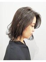 エイム ヘアメイク 横川店(eim HAIR MAKE)ダークグレー×切りっぱミディ