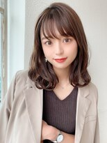 前髪パーマ/ピンクベージュ/ネオウルフ/大人かわいい/モテ髪