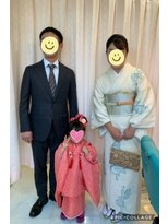 七五三、3歳、母親の着付け、ヘアーセット、メイク。
