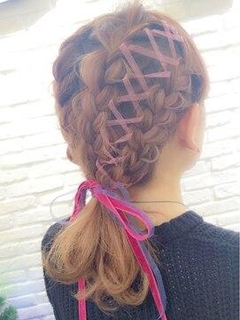 ミエルヘアーアンドスパ(miel hair&spa)◆miel◆外国人風 リボン レースアップ アレンジ