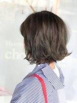 ヘアメイク シュシュ(Hair make chou chou)ダークグレージュ×切りっぱなしボブ【chou-chou 北林夏実】
