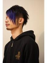 アンプ(Amp)黒髪ショート+青バング