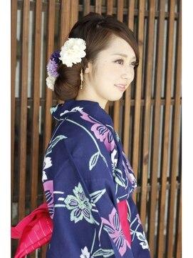 浴衣 髪型(ミディアムセミロング) 浴衣スタイル2