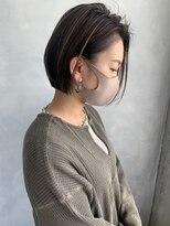 前髪なし大人ぱっつんボブ ハイライト グレーベージュ 前田茜