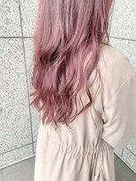 やわらかハイライトカラーピンクベージュ×イメチェン×前髪