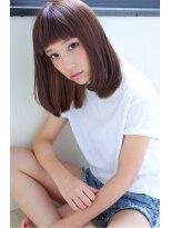 ブリーチのオン眉インナーカラーフェミニンボブ@菅谷画像