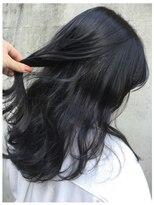 *ブリーチなし!大人可愛い暗髪透明感ブルーブラックカラー