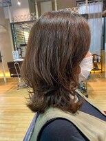 フレア ヘア サロン(FLEAR hair salon)ミディアムレイヤー_ボブ_カーキグレージュ_大人かわいい