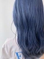 【Zina札幌】フリンジウェーブ前髪大人かわいいブルーカラー