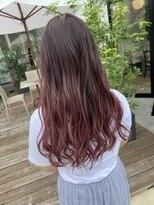 ピンクグラデーションカラー×デザインカラー×髪質改善