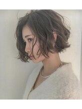 ヘアースペース ブイ(hair space V)カーキグレージュ×ワンレンボブ前髪長め hair spaceV by マサヤ