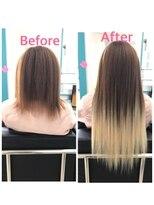 マーメイドヘアー(mermaid hair)地毛カラー+ライトブラウン→白金グラデーション太め50本