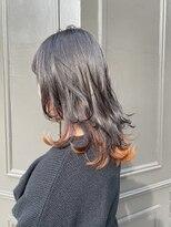 ヘアーアイスカルテット(HAIR ICI QUARTET)ロング ウルフ インナーカラー アッシュ オレンジ