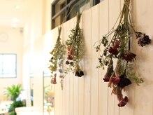 テオ ヘア(teo hair)の雰囲気(壁に吊られたドライフラワー。ナチュラルで温かみのある雰囲気。)