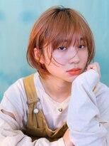 テトヘアー(teto hair)グラボブオレンジカラーハイトーンボブオレンジベージュ暖色系
