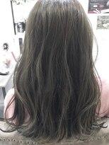 ベイジヘアークチュール(BEIGE hair couture)オリーブグレージュ外ハネボブ セミロング