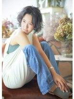 オゥルージュ(Au-rouge noma)【Au-rouge noma 柳瀬香里】センターパートのくせ毛風パーマボブ