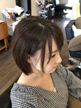 ヘアデザイン キュアプラス(hair design cure+)の写真/【倉敷/粒浦】自分に似合わせた前髪&顔周りのフィット感を重視したデザインで「理想の小顔」を叶える!!
