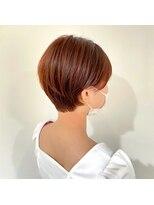 ヘアーアイストゥーレ(HAIR ICI TRE)オレンジカラー ショート オレンジブラウン 担当渡辺聖