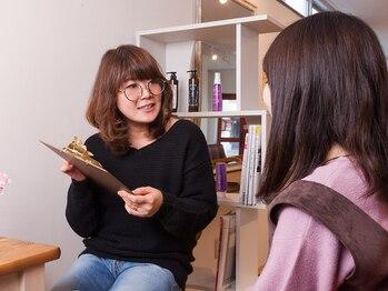 美容室 ハリエルの写真/カウンセリングブースでじっくりお手入れをアドバイス☆分かるまで丁寧に教えてくれるのが嬉しい♪