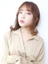 アルバム シンジュク(ALBUM SHINJUKU)外ハネミディ_オリーブカラーハイライトカラー_56885