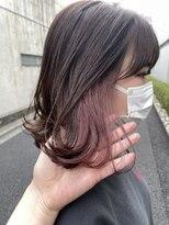 *イヤリングカラーインナーカラーピンクベージュ×艶髪ブラウン
