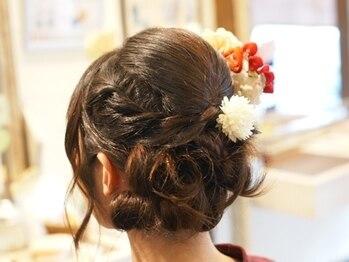 クラク 笹塚店(KURAKU)の写真/《着付け予約OK》結婚式のお呼ばれ・食事会にも♪大切な一日を、華やかなヘアセットで素敵な想い出に…。