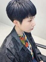 テトヘアー(teto hair)ブルー ブラック 刈り上げ モード 個性派 ブラント マッシュ
