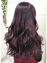 パープルバイオレットカラーロングヘア紫ヘアカラー