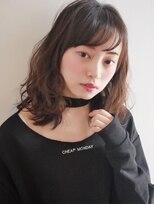 ヘアー ピープル(Hair People)斜めバング×オン眉!ルーズなくせ毛風カール☆ベージュカラー