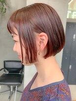 テトヘアー(teto hair)スリークボブ、前下がりボブ、切りっぱなし、オレンジ