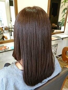 ヘアーデザイン リント(hair design Rinto)の写真/【女性Stylistだけの癒しサロン-Rinto-】本格的なケアにこだわった髪質改善メニューで、天使の輪が復活★
