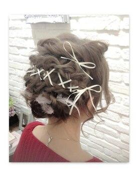 ミエルヘアーアンドスパ(miel hair&spa)◆miel◆ショートヘアでも可愛い★リボン編み上げ&フェザー