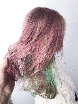 サロンドミルク 原宿(salon de MiLK)鬼滅の刃 恋柱カラー ピンク×インナーグリーン