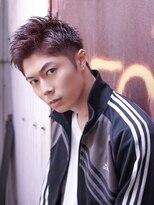 コンフィデンス メンズヘアー(confidence MEN'S HAIR)アップバングツーブロック × バイオレットカラー